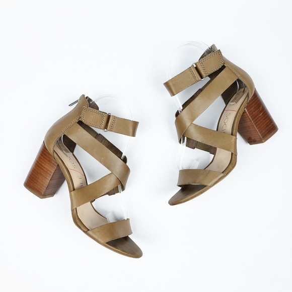 undefeated x aliexpress official store Sole Society Leather Strappy Stacked Heel Sandals